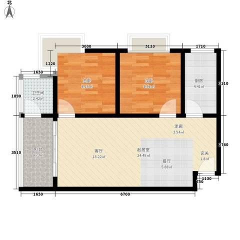 东方海岸假日2室0厅1卫1厨52.66㎡户型图
