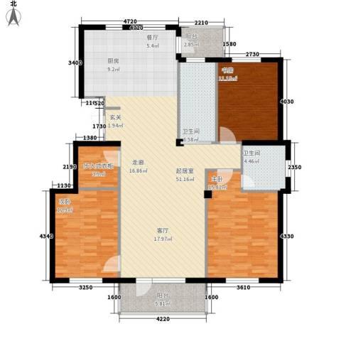 兰亭假日3室0厅2卫0厨158.00㎡户型图