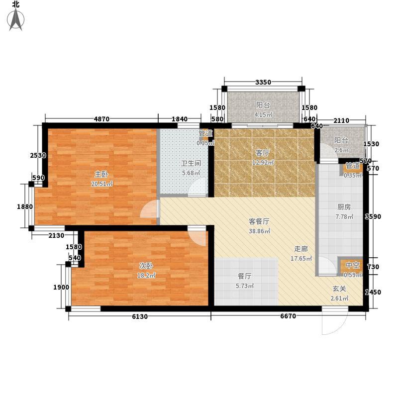 北苑家园秀城113.34㎡201号楼08户型2室2厅1卫1厨