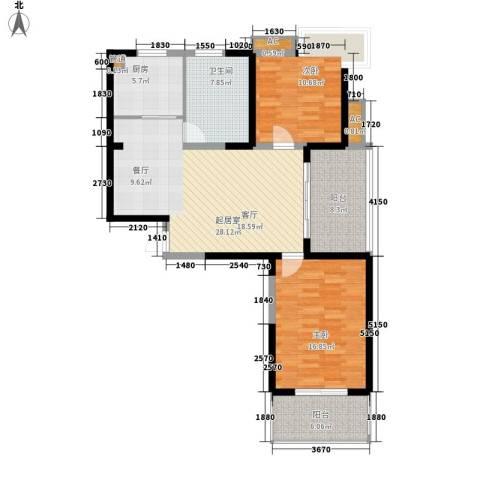 信运现代城2室0厅1卫1厨98.00㎡户型图