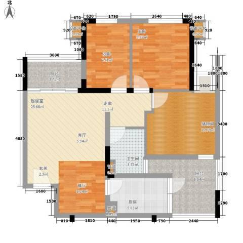 龙光峰景华庭2室0厅1卫1厨92.00㎡户型图