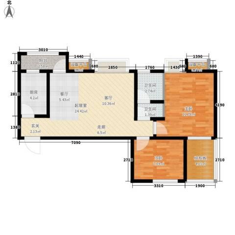 阳光北京城2室0厅2卫1厨82.00㎡户型图