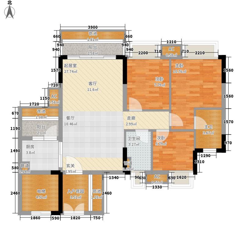 云山峰境花园90.00㎡云山峰境花园户型图1、2座04单元3室2厅2卫1厨户型3室2厅2卫1厨
