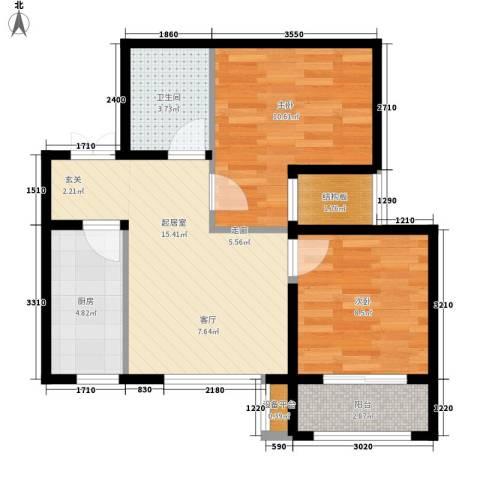 阳光北京城2室0厅1卫1厨66.00㎡户型图