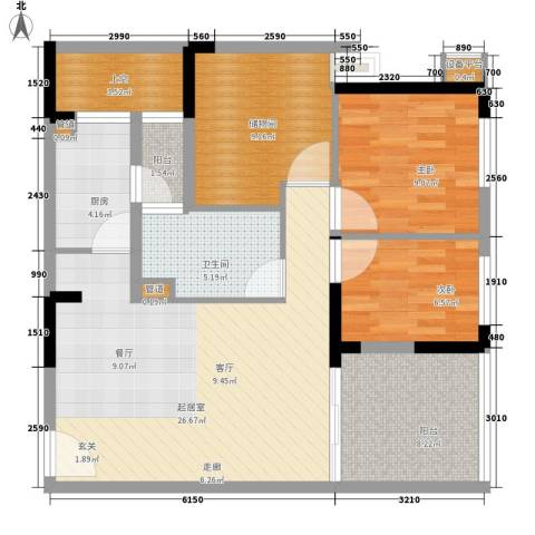 龙光峰景华庭2室0厅1卫1厨89.00㎡户型图