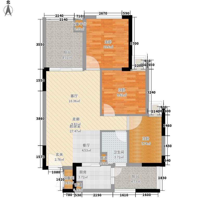龙光峰景华庭户型图4A(2-18)08户型 3室2厅