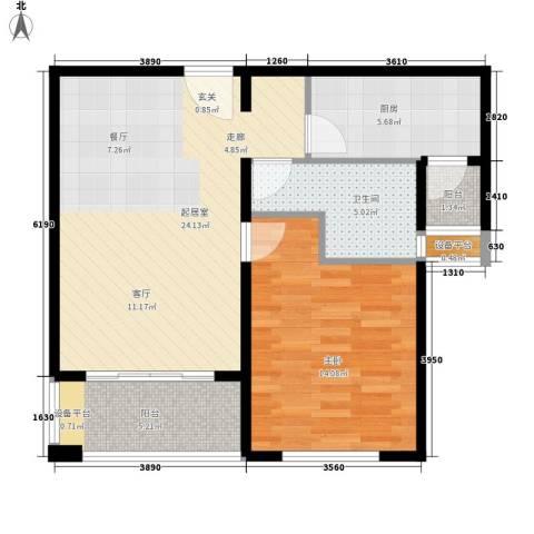 绿地崴廉公寓1室0厅1卫1厨63.30㎡户型图