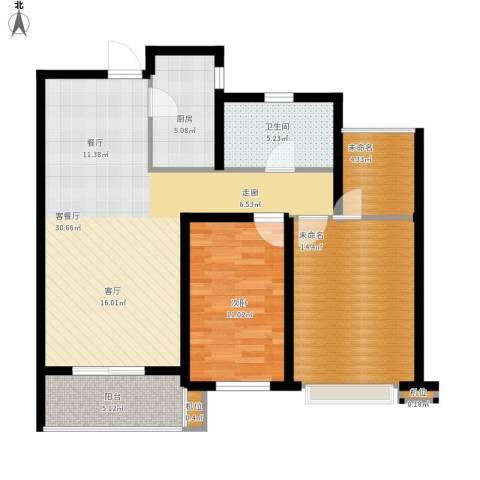 莱蒙水榭阳光1室1厅1卫1厨88.00㎡户型图