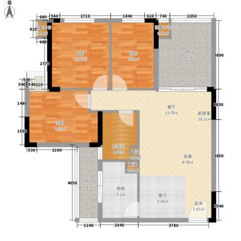 龙光峰景华庭3室0厅1卫1厨93.00㎡户型图
