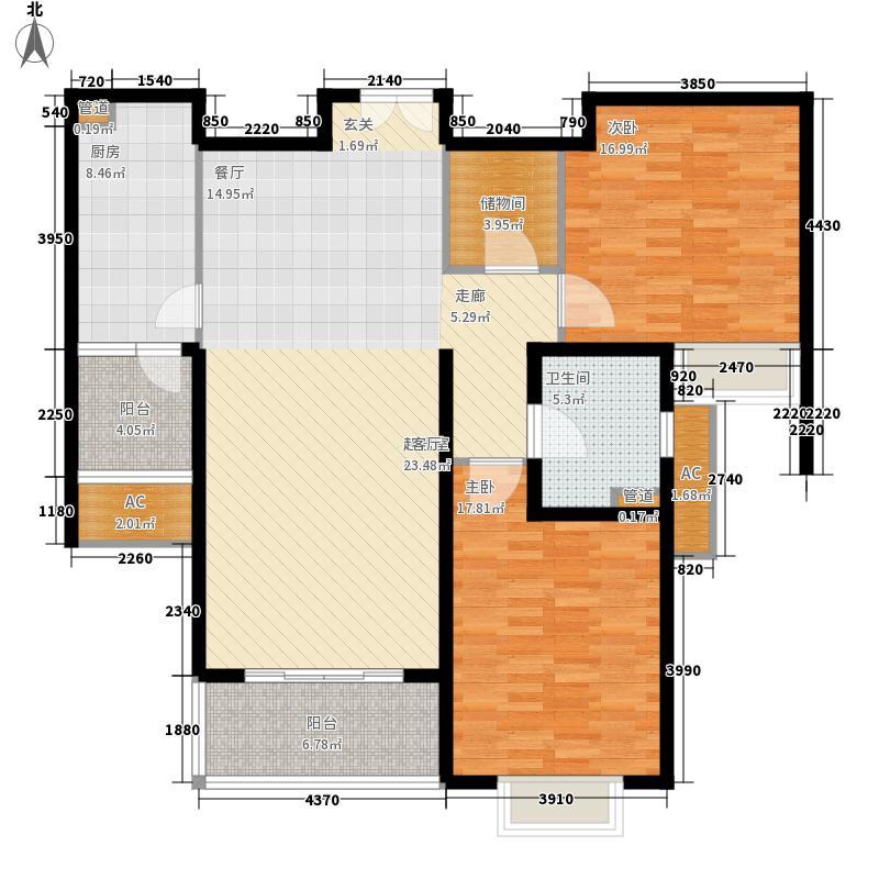 世茂外滩新城127.40㎡二期17号楼标准层F户型2室2厅1卫1厨