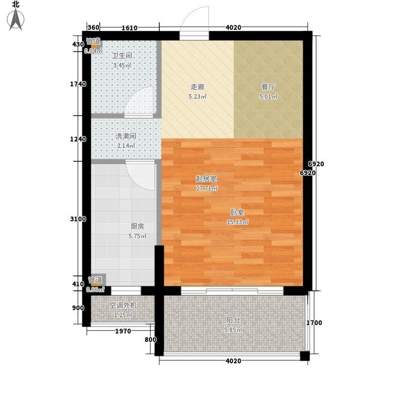 泰华学府48.32㎡1#、2#楼B户型1室1厅1卫1厨