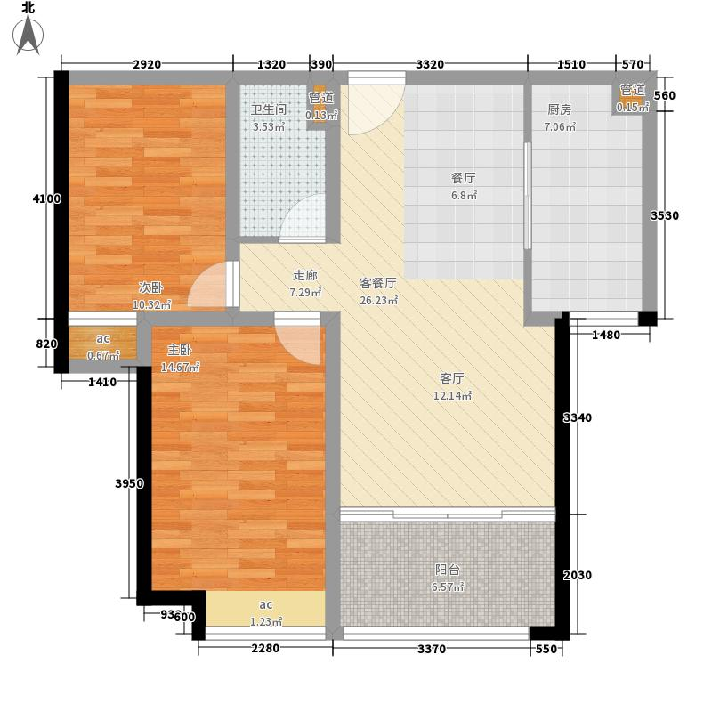 济南鲁能领秀城92.46㎡济南鲁能领秀城户型图17号楼C-2户型2室2厅1卫户型2室2厅1卫