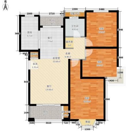 绿地崴廉公寓3室0厅1卫1厨108.99㎡户型图