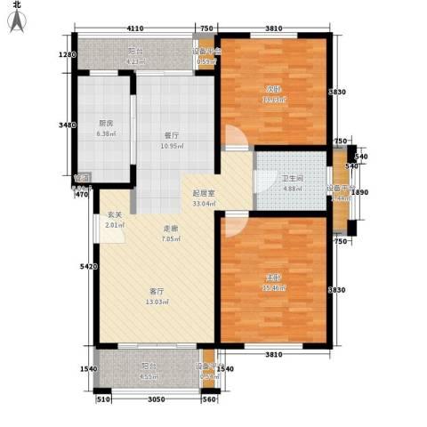绿地崴廉公寓2室0厅1卫1厨96.00㎡户型图