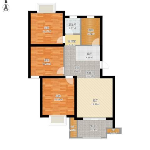 仙林诚品城3室1厅1卫1厨121.00㎡户型图