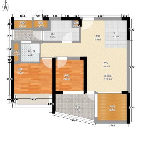 苹果园2室0厅1卫1厨68.00㎡户型图