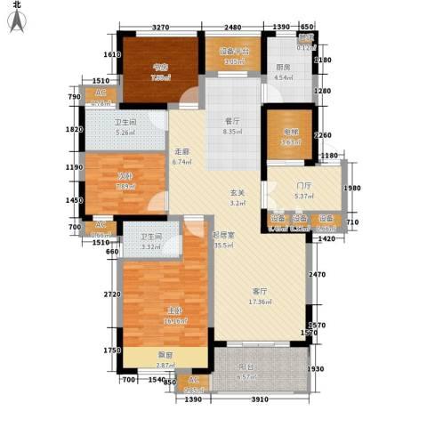 恒熙湖庭3室0厅2卫1厨120.00㎡户型图