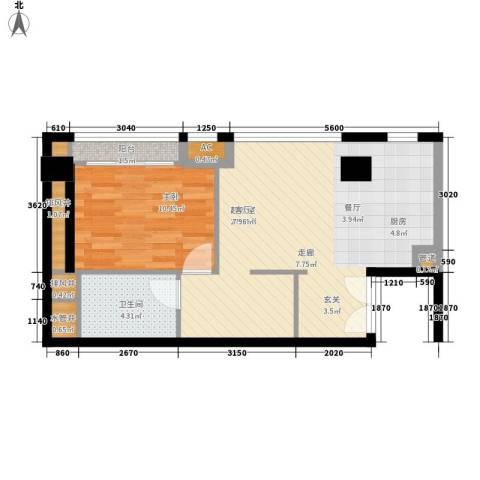 越秀・财富世纪广场1室0厅1卫0厨68.00㎡户型图