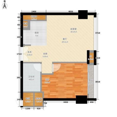 越秀・财富世纪广场1室0厅1卫0厨79.00㎡户型图