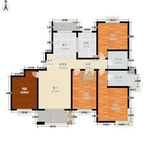 绿地崴廉公寓4室0厅2卫1厨165.00㎡户型图