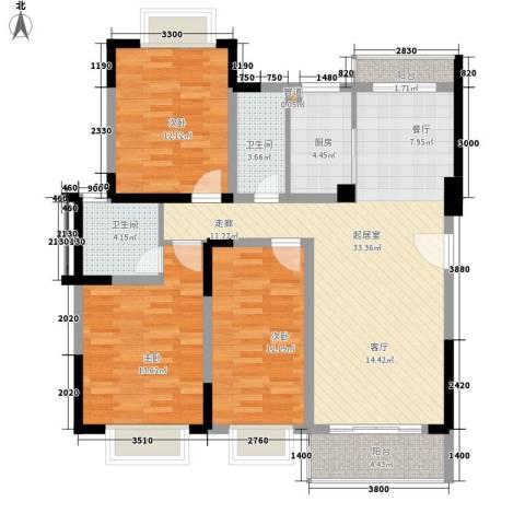 景湖湾畔二期3室0厅2卫1厨190.00㎡户型图