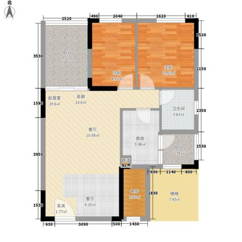 龙光峰景华庭2室0厅1卫1厨81.00㎡户型图