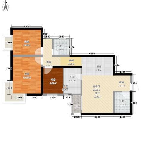 九台2000家园3室1厅2卫1厨101.00㎡户型图