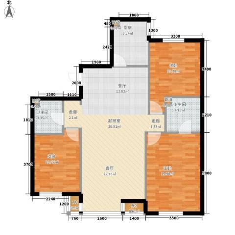 富海澜湾半岛3室0厅2卫1厨125.00㎡户型图