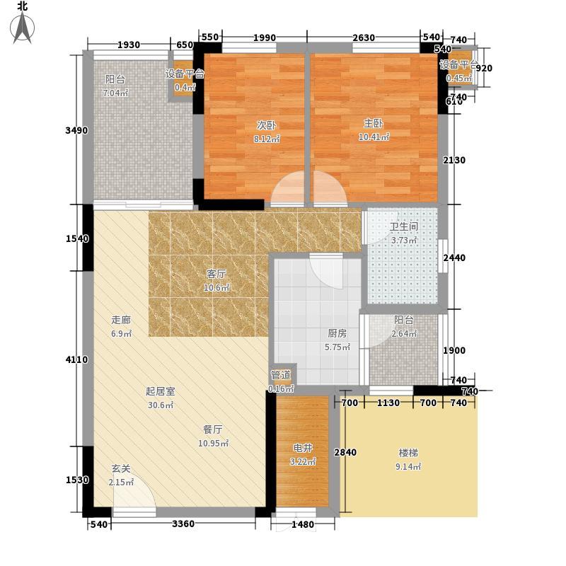 龙光峰景华庭户型图7栋B座2-18层03单元 3室2厅1卫1厨