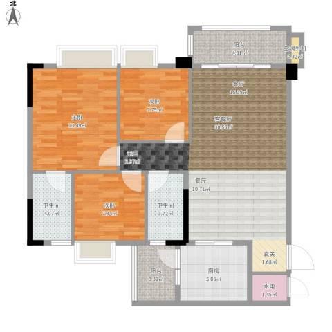 肇庆碧桂园3室1厅2卫1厨116.00㎡户型图