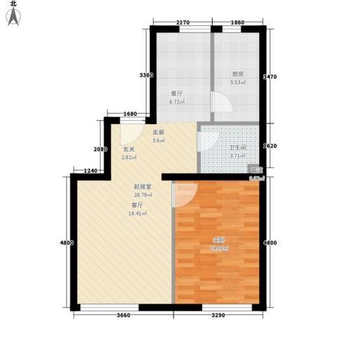 sala私人酒店1室0厅1卫1厨73.00㎡户型图