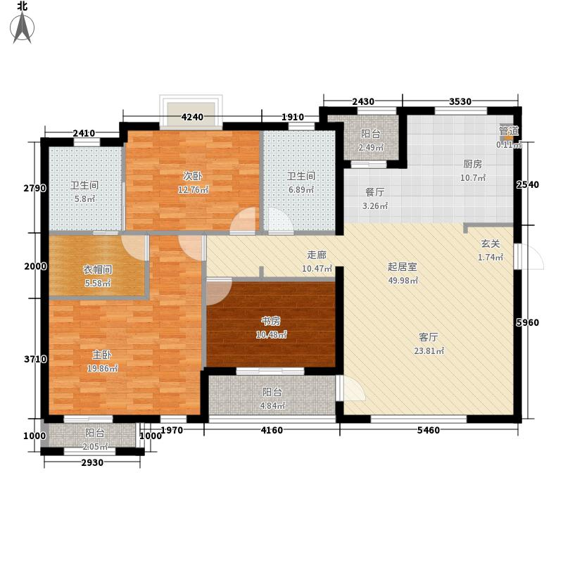 帕萨迪纳134.80㎡De户型3室2厅2卫1厨