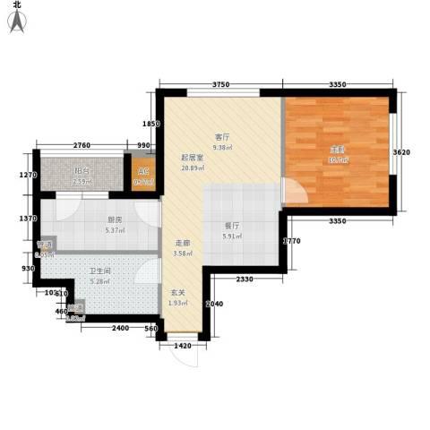 sala私人酒店1室0厅1卫1厨66.00㎡户型图