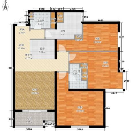 北苑家园秀城3室1厅2卫1厨135.00㎡户型图