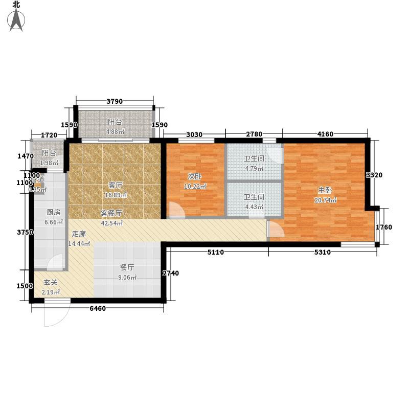 北苑家园秀城108.84㎡205号楼01户型2室2厅2卫1厨