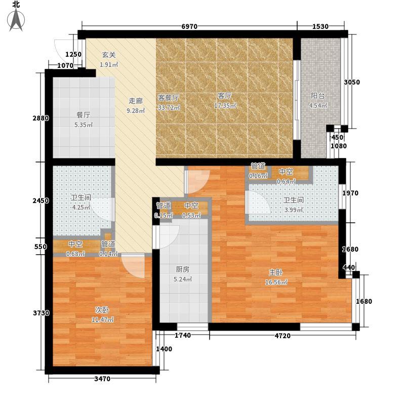 北苑家园秀城94.81㎡202号楼02户型2室2厅2卫1厨