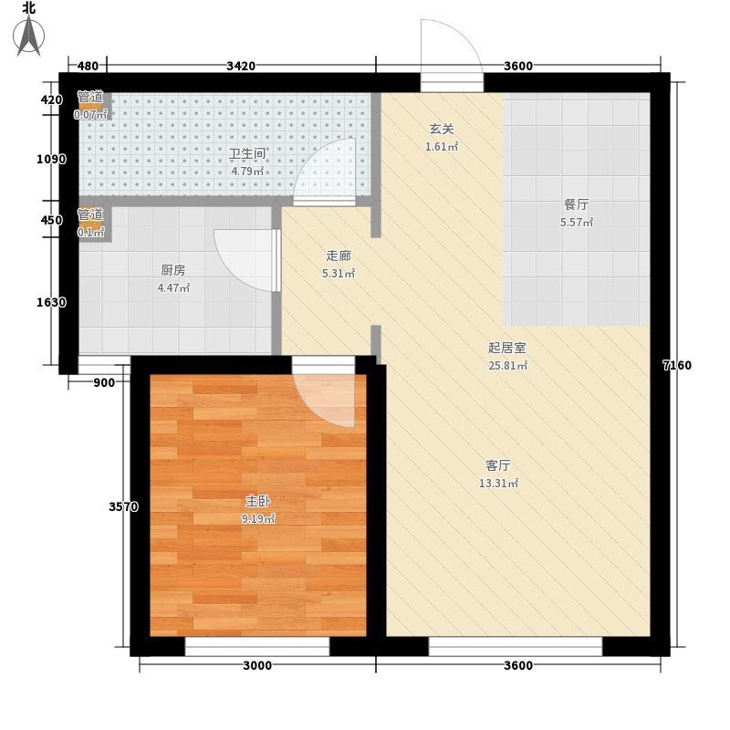 苏宁绿谷庄园95.60㎡E户型1室2厅1卫1厨