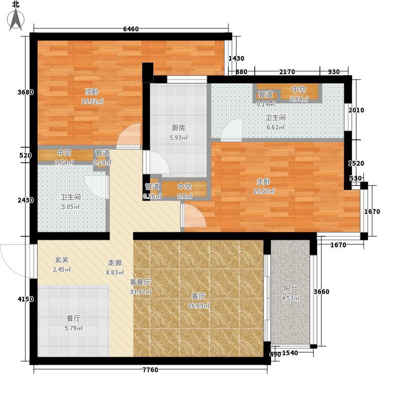 北苑家园秀城101.70㎡202号楼03户型2室2厅2卫1厨