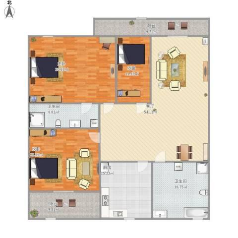 绿景嘉园3室1厅2卫1厨238.00㎡户型图