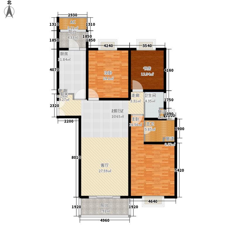 世茂外滩新城168.40㎡二期17号楼标准层E户型3室2厅2卫1厨