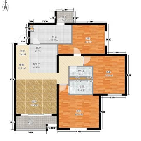 北苑家园秀城3室1厅2卫1厨137.00㎡户型图