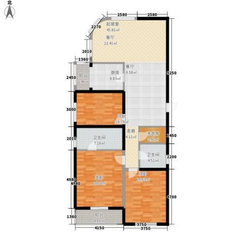 瑞宝国际花苑3室0厅2卫1厨158.00㎡户型图
