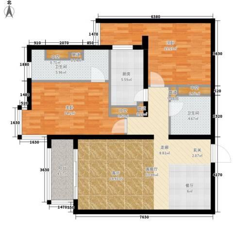 北苑家园秀城2室1厅2卫1厨102.00㎡户型图