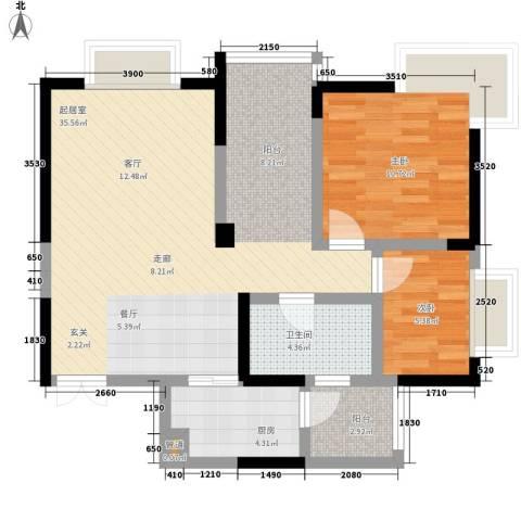 曼哈顿广场2室0厅1卫1厨69.00㎡户型图