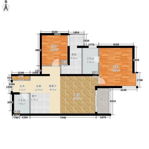 北苑家园秀城2室1厅2卫1厨106.00㎡户型图