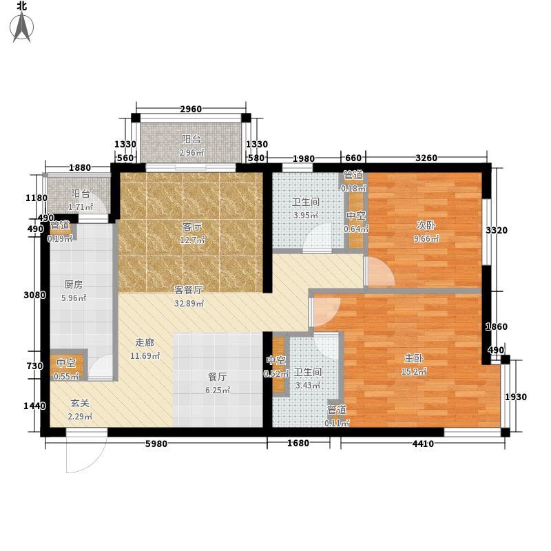 北苑家园秀城89.91㎡202号楼01户型2室2厅2卫1厨