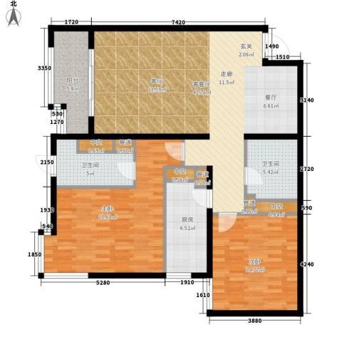 北苑家园秀城2室1厅2卫1厨116.00㎡户型图