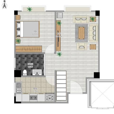 小岛花园1室1厅1卫1厨69.00㎡户型图
