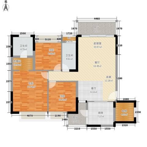 恒大・名都2室0厅2卫1厨135.00㎡户型图