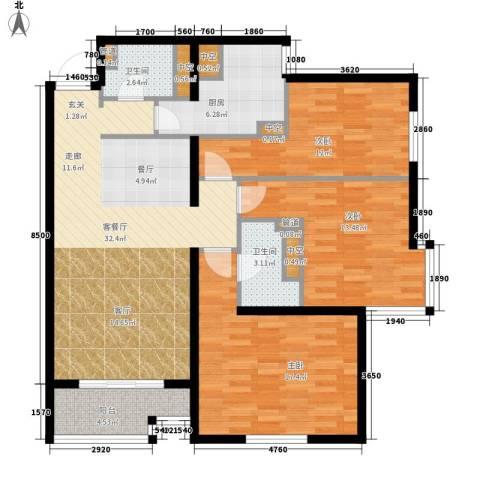 北苑家园秀城3室1厅2卫1厨108.00㎡户型图